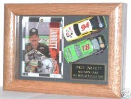 1995 DALE JARRETT SIGNED TRADING CARD & DIECAST CARS IN DISPLAY CASE - $65.00