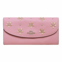 Coach All Over Studs Slim Envelope Wallet in Tulip/Silver - $118.79