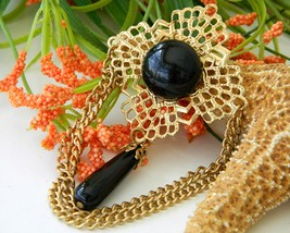 Vintage Filigree Chain Brooch Pin Black Cabochon Gold Tone - $17.95