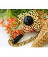Vintage Filigree Chain Brooch Pin Black Cabochon Gold Tone - $17.95