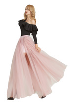 Black Pink White Slit Tulle Skirt High Waisted Full Length Slit Tulle Maxi Skirt image 8
