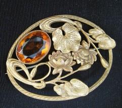 Art Nouveau Topaz Crystal Sash Pin Lotus Blossom Motif - $124.98
