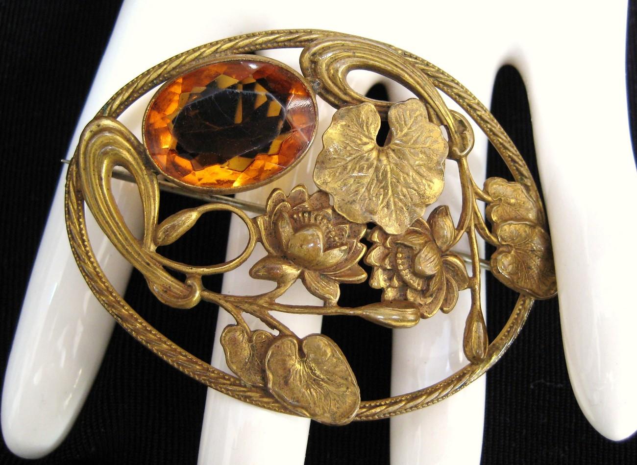 Art Nouveau Topaz Crystal Sash Pin Lotus Blossom Motif