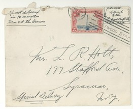 Unique 1930 Special Delivery Cover w/GLUED ON C11 & Artwork! Syracuse NY - $5.93