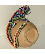 Mexico Huichol Intricate Folk Art Beaded Lizard on Clay Vase - $17.00
