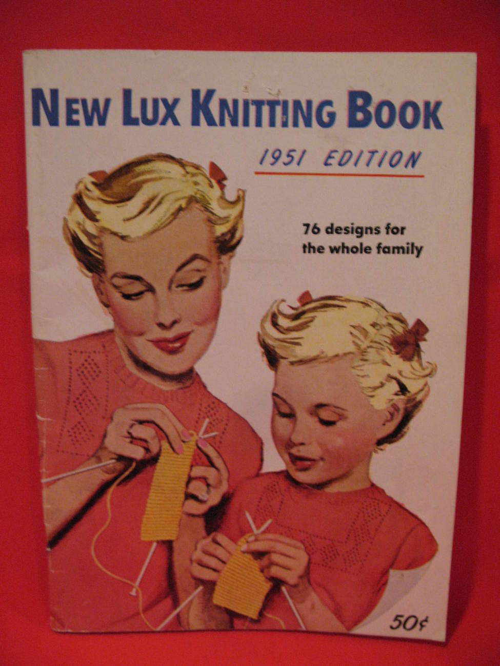 Primary image for Vintage 1951 New Lux Knitting Pattern Book 76 Patterns for the whole FAMILY