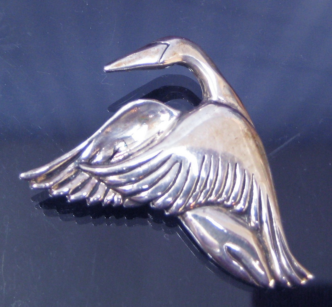 Sterling Silver Flying Goose Figural Brooch Pin 1993