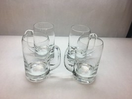 VINTAGE Set of 4 BLOWN Glass BEER Steins PLAIN Design THICK Base Curved TOP - $60.93
