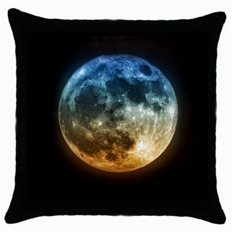 Moon at night 55 throw pillow case  black