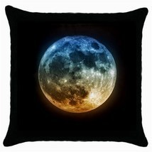 Moon at night 55 throw pillow case  black  thumb200