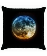 Beautiful Full Moon At Night 100% Cotton Black Throw Pillow Case - £9.25 GBP