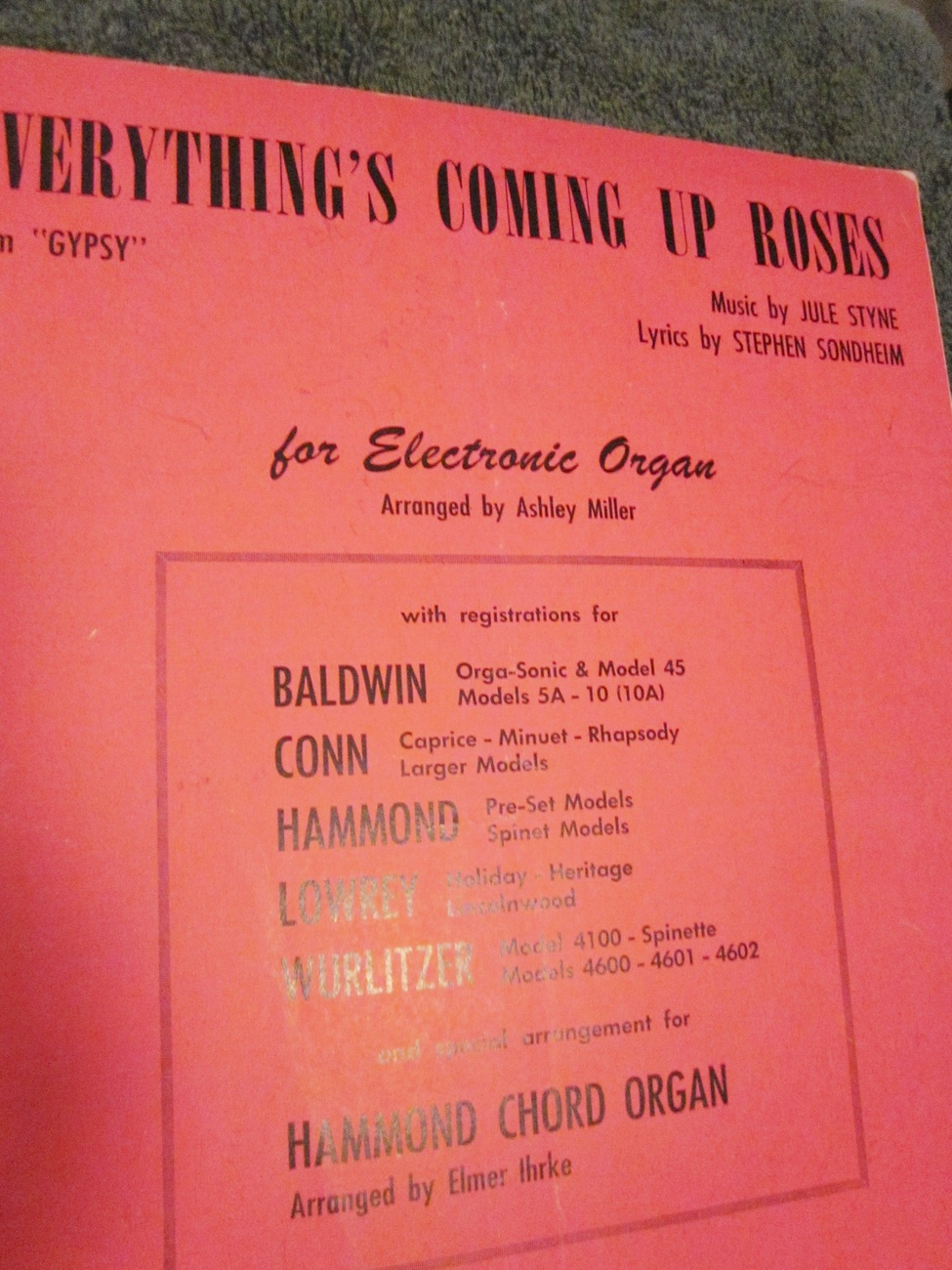 Sheet Music Everythings Coming Up Roses from Gypsy for the Organ