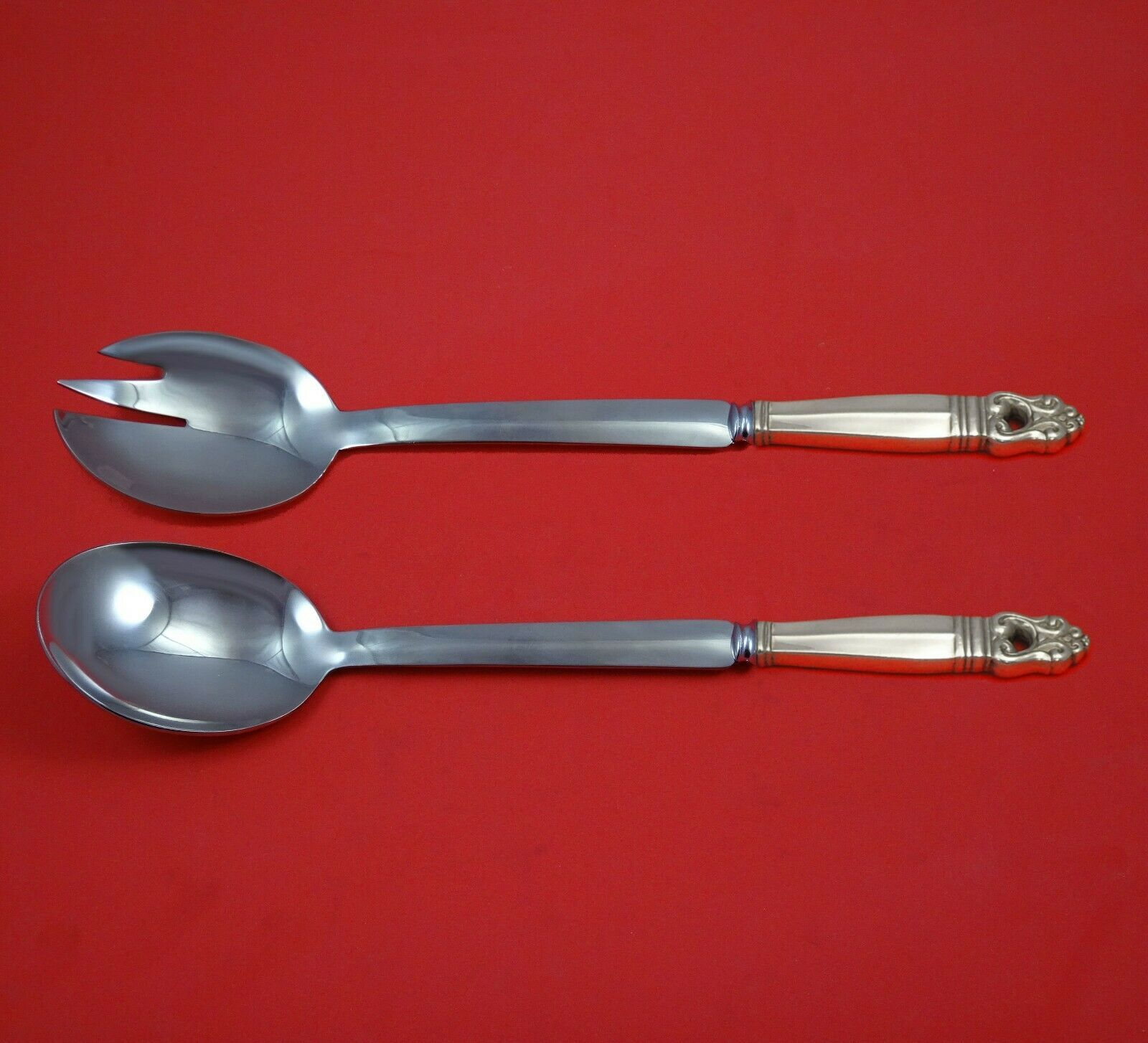 Primary image for Royal Danish by International Sterling Silver Salad Serving Set Modern Custom