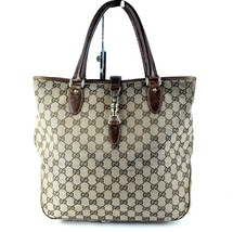 Authentic GUCCI GG Beige Canvas & Brown Leather Tote Hand Bag Purse Italy - $147.51