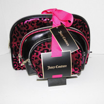 Juicy Couture Leopard Pink & Black Cosmetic Travel Case Set image 2
