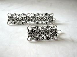 Small or medium silver metal filigree hair pin clip barrette for fine th... - $7.16+