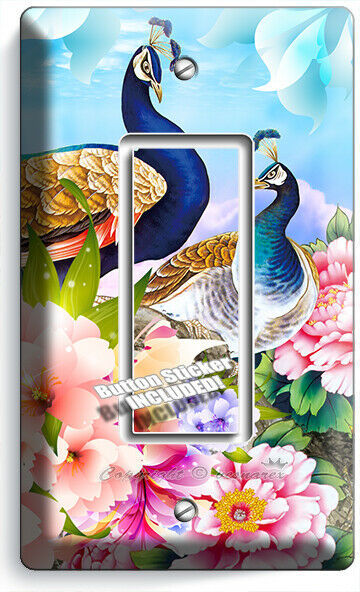 FLORAL PEACOCK BIRDS COLORFUL FEATHERS 1 GFCI LIGHT SWITCH WALL PLATE ROOM DECOR