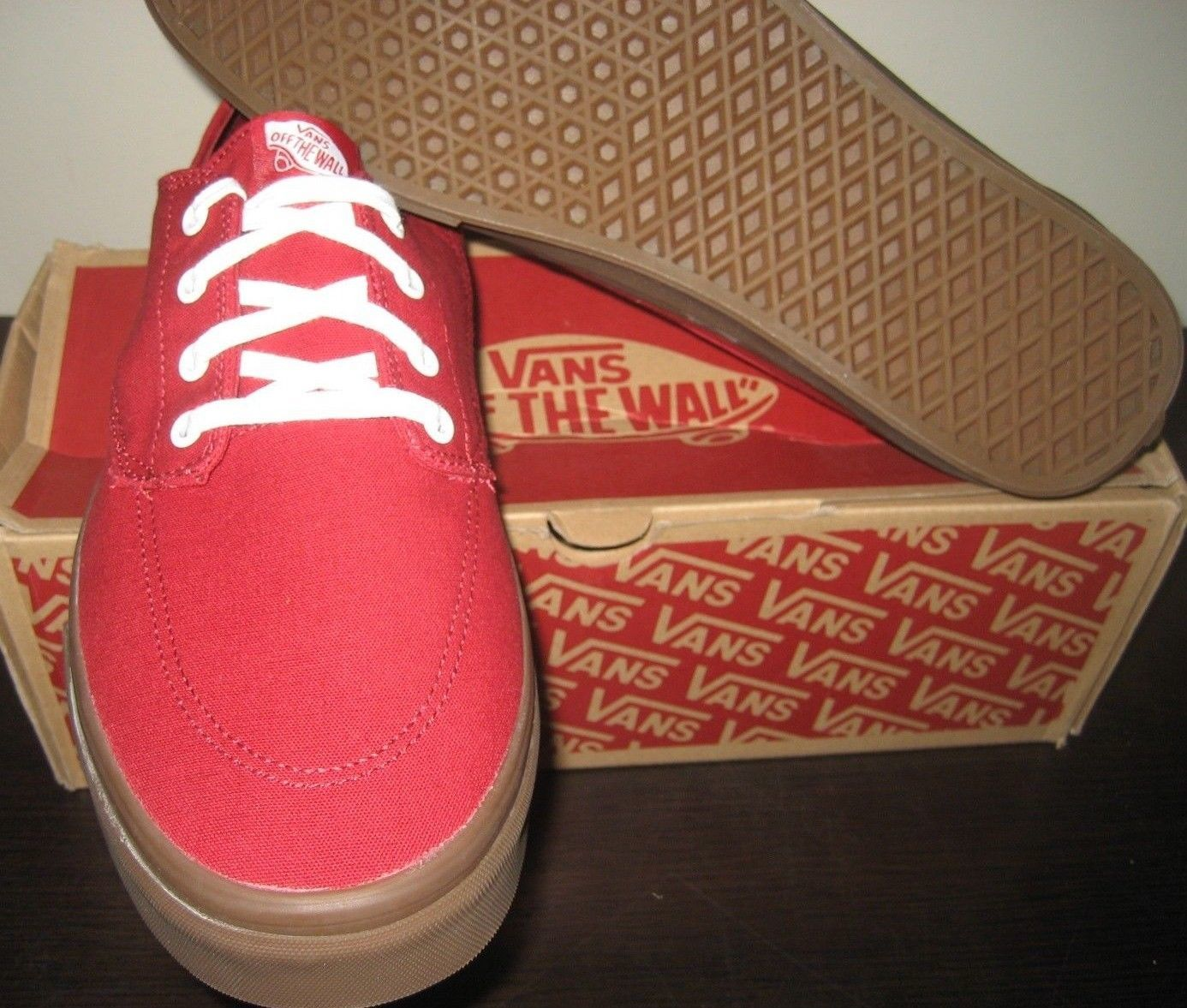 3153d3cdb760 Vans Mens Brigata Gumsole Chili Pepper Red Canvas Skate Boat Shoes Size 13  NWT. Next. 1