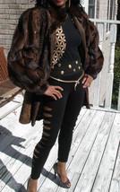 Designer Embossed leather, sable brown Swakara & Mink Fur Coat jacket Stroller M - $1,534.49