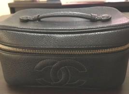 Auth CHANEL Vanity Vintage Black Leather Logo Zipper Mini Pouch B2957 - $483.12