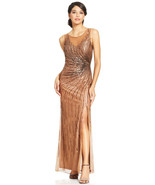 Patra New Womens Bronze Metallic Illusion Embellished Cut-out Back Gown 10 - $83.16