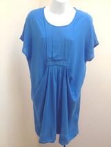 Zara Basic T Shirt Tunic Dress M Blue Draped Top NWT - $29.38