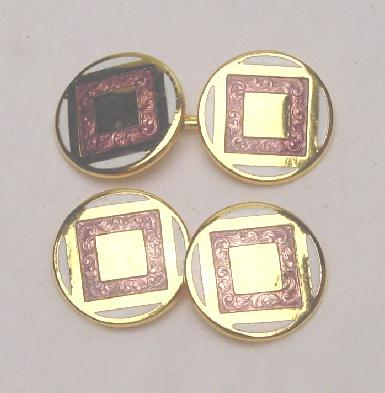 ART DECO ENAMEL DOUBLE SIDED CUFF LINKS