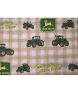 John Deere Green Tractors Tan Fabric 6 Yards - $32.95