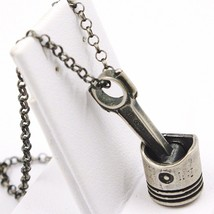 Necklace and Pendant, Silver 925, Burnished and Satin, Piston Motorcycle image 2