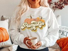 NEW Hello Pumpkin Fall Crewneck Unisex Loose Fitting Sweatshirt Sweater ... - $30.84+