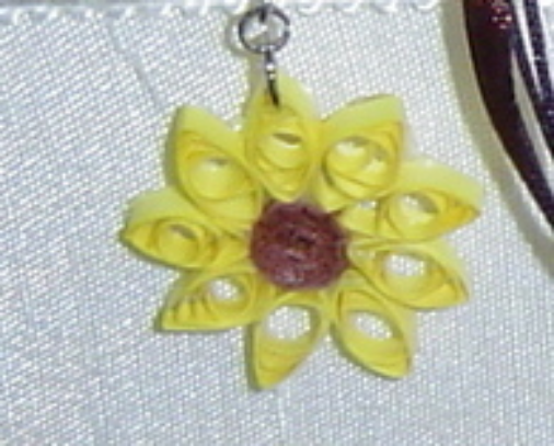 Paper Quill handcrafted Sunflower/ Lazy Susan Necklace and Earring Set