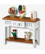 Dollhouse Tuscan Side Table Reutter 1:12 Miniature Rooster Pitcher Flowers 14950 - $32.85
