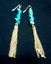 Turquoise Polished Stones Gold Tone Tassel Earrings - $3.00