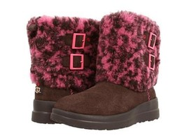 I Heart Ugg Two Buckle Down Brown & Pink Suede Wool Lined Boots Wms 5 Nwot Disc - $119.99