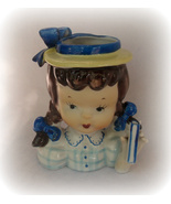 Vintage Napco Head Vase Girl Child Japan Hand Painted Planter - $14.99