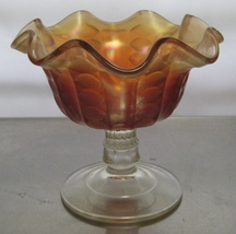 Dugan Coin Spot Carnival Iridescent Ruffled Top Clear Stem Compote Has F... - $60.00