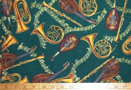 1/2 yd music/horns/tubas/clarinets/mandolins/notes gold on green quilt fabric