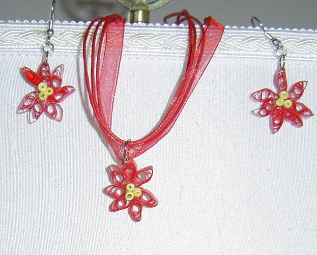 Paper Quill Handcrafted Red Poinsettia Necklace and Earring Set