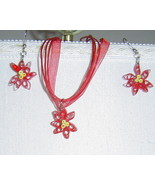 Paper Quill Handcrafted Red Poinsettia Necklace and Earring Set - $24.99