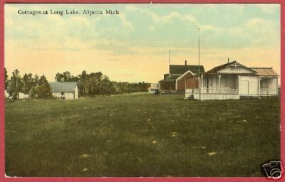 Alpena MI Long Lake Cottages Michigan Postcard BJs