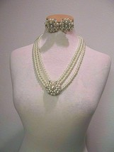 VINTAGE NECKLACE 3 FAUX PEARL STRAND LARGE PAVE PEARL PENDANT MATCHING E... - $55.00