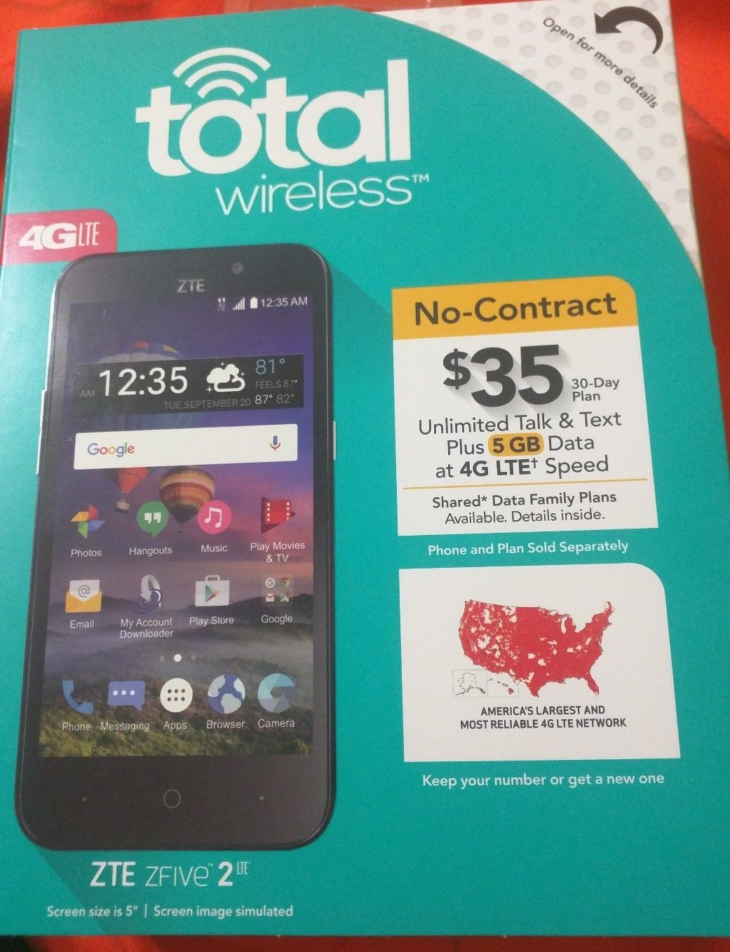 New Total Wireless Zte Zfive 2 Lte Z837VL and 28 similar items