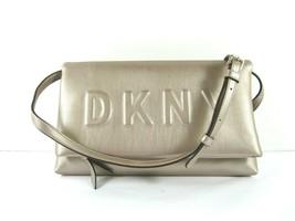 DKNY NEW Metallic Tan Crossbody Clutch Tilly Logo Embossed Flap Magnetic - $92.86 CAD