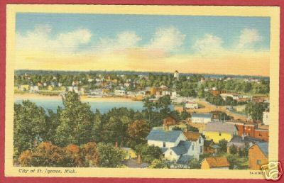 St Ignace MI City View Linen Mackinac Co Postcard BJs