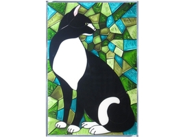 10x14 Stained Art Glass CAT Kitty Black White Hanging Suncatcher - $45.00