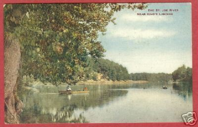 St Joe River King's Landing MI Boat Postcard BJs