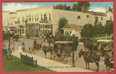 Primary image for Mackinac Island Mi Main Horse Surrey Store Postcard BJs