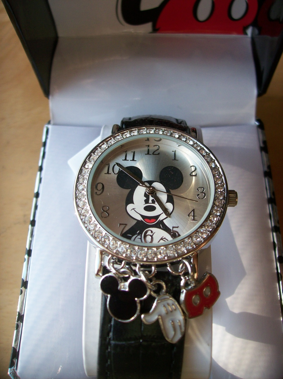 Disney Mickey Mouse Face Wristwatch with Charms