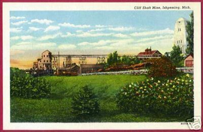 Ishpeming MI Cliff Shaft Mine UP Mining Postcard BJs