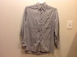 INC International Concepts Gray White Button Down Long Sleeve Shirt Sz M